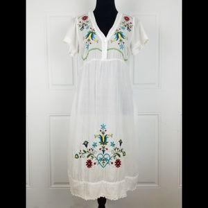 Johhny Was Embroidered Dress Sheer Kaftan Cover Up